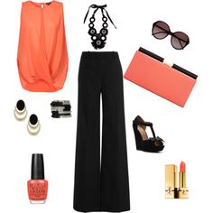Evening Coral outfit, Great for a casual friday night drink with your man! Evening Fashion Style, Coral nails makeup, Coral purse