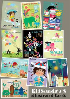 a set of 20 of my newest  illustrated postcards10 by sevenstar, $18.00