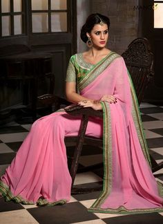SOFT PINK GEORGETTE DESIGNER SAREE  CODE:-6608 PRICE:-2338/-