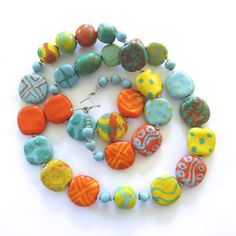 Blue Spearmint Green Orange and Yellow Beaded Necklace