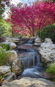 Fall Landscape Features with a Splash of Water - Town & Country Living Autumn adds riotous color creating a stunning fall landscape. See these backyard beauties, each with its own refreshing water feature! Backyard Water Feature, Ponds Backyard, Backyard Ideas, Pond Ideas, Garden Ideas, Backyard Waterfalls, Garden Ponds, Pond Landscaping, Landscaping With Rocks