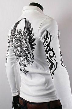 Eagle Print Polo Shirt