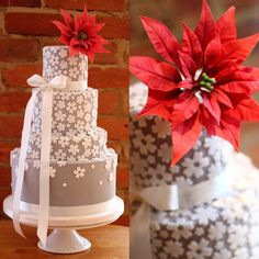 Pretty Taupe & White Flowers Cake