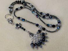 Dragonfly Beaded Knitting Lanyard Necklace - Snag Free Stitch Markers - Knitting Bag Lanyard