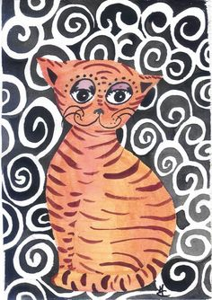 chat arabesques acrylique by Mae Maevina
