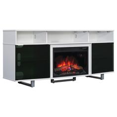 ClassicFlame Enterprise Lite Contemporary TV Stand with Electric Fireplace - Gloss White
