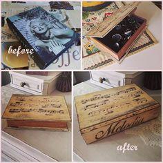 Vecchia scatola kitsch rinnovata in stile shabby chic con decorazione stencil e rifinita con cera scura