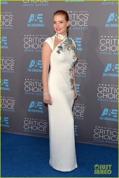 Jessica Chastain in an Antonio Berardi dress, Charlotte Olympia heels, and Piaget jewels.