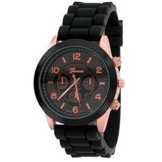 Fashion Black Jelly Quartz Rose Gold Analog Sports Watch