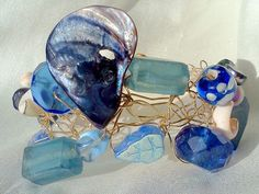 the deep blue sea, wire crochet bracelet, something blue