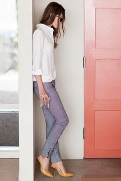 Carpenter-striped skinnies with white button-down and colorful heels.