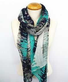 Look what I found on #zulily! Green & Black Abstract Scarf by TROO #zulilyfinds