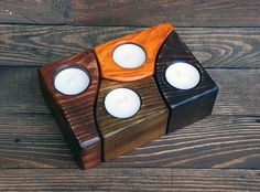 Wooden Candle Holder, Tea light holder, Rustic Home Accents, Handmade wood Holder, Bathroom, Dining Room Candle, Home Decor, Three Snails