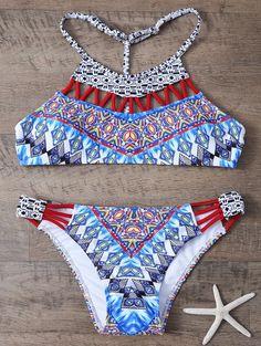 $12.55 Cami Ethnic Print Cut Out Bikini Set