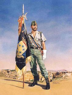 Escudo del Tercio Alejandro Farnesio, IV de La Legión,acuarela de José Gonzalez Bueno