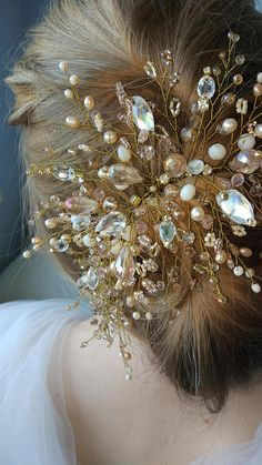 Description WeddingWreaths Accessories Bridal Headband crystal rhinestone wedding headband Bridal tiara Bridal crown First communion headpiece wedding Add brilliance to your special day with this long weave. Can be made in all clear crystals or with color accents. This crown's