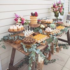A rustic dessert table for a secret garden themed bridal shower! The bright flow… A rustic dessert table for a secret garden themed bridal shower! The bright flowers add a whimsical touch!✨ {Inspired by Kara's Party Ideas . Garden Party Theme, Rustic Theme Party, Rustic Garden Party, Vintage Garden Parties, Garden Party Wedding, Classy Backyard Wedding, Boho Themed Party, Garden Table, Herb Garden