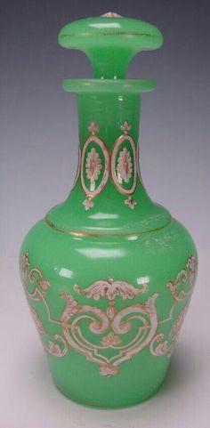 #Antique French Gilt Enamel Napoleon III #Perfume #Bottle - Green Opaline Glass Bottle about 150 years old