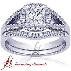 Cushion Cut Halo Petite Diamond Engagement Wedding Rings Set In Pave Setting
