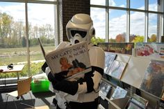 This stormtrooper loves cats and checked out this book at the Aspen Drive Library during Star Wars Read Day 2012.
