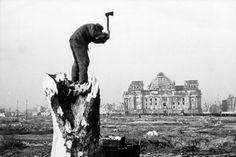 Jagd auf Brennbares: Dieser Mann hackt Holz von einem Baumstumpf im Tiergarten Berlin, im Hintergrund der Reichstag. Um heizen zu können, hatten die Menschen im bitterkalten Winter 1946/47 vielfach keine andere Möglichkeit, als Bäume zu roden und Kohle zu stehlen. Ganze Züge mit Kohle wurden systematisch geplündert, im Raum Köln zeitweise 18.000 Zentner täglich entwendet. Die Folge: Die Militärregierung ließ die Züge mit bewaffnetem Personal bewachen. Berlin 1945, Berlin Germany, Historical Fiction, Historical Photos, Kaiser Wilhelm, S Bahn, Cities In Europe, Man Standing, Germany