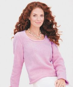 Ladies' Sweater with Roll Edges pattern