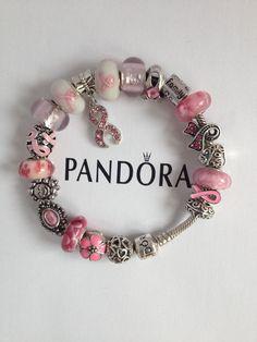 Inspirational Pink Ribbon Navy Charm Beads Set of 3
