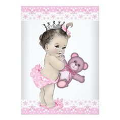 Pink Teddy Bear Princess Baby Shower Personalized Announcement