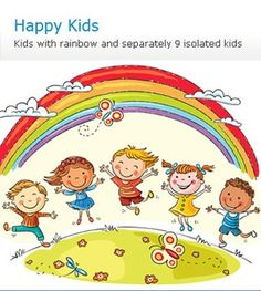 Illustration about Kids jumping with joy on a hill under rainbow, colorful cartoon. Illustration of drawing, illustration, good - 48710213 Hello Songs Preschool, Kindergarten Clipart, International Children's Day, Circle Time, Child Day, Creative Sketches, Happy Kids, Business Card Logo, Bunt