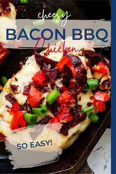 I can't stop thinking about this Cheesy Bacon BBQ Chicken. Smoky seasoned chicken topped with tangy barbecue sauce, aged white cheddar cheese, and crunchy bacon for a deliciously easy dish that every cook needs in their repertoire. Simple but unforgettable! #ad Healthy Recipes For Weight Loss, Healthy Chicken Recipes, Healthy Dinner Recipes, Snack Recipes, Delicious Dinner Recipes, Yummy Food, Bbq Bacon, Gluten Free Recipes For Breakfast, Game Day Food