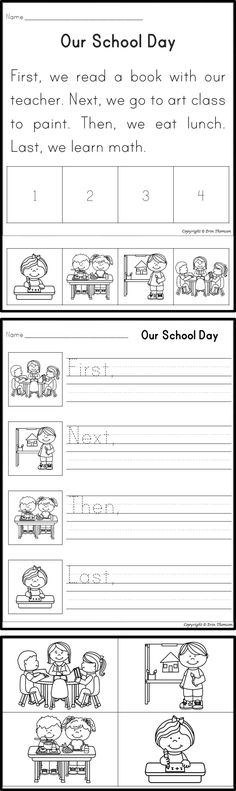 Sequencing Story: Our school day ~ First, Next, Then, Last with pictures