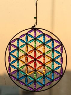 Stained glass Suncatcher Yri Yantra stained glass by Mownart