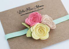 Felt Flower Headband // Felt Roses // Babies by LittleMissAthena