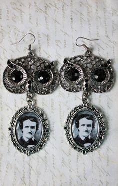 Altered art vintage Edgar Allan Poe - long owl earrings.