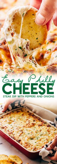 Easy Philly Cheese Steak Dip A quick and easy dip to throw together for game day weekend! This Philly cheese steak dip comes together in a flash and serves a crowd! Recipes Appetizers And Snacks, Appetizer Dips, Dip Recipes, Cooking Recipes, Savory Snacks, Mexican Recipes, Chicken Recipes, Philly Cheese Steak Dip, Leftover Steak
