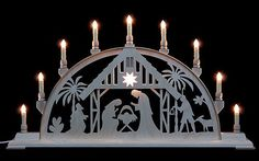 Candle Arch – Nativity Scene with Light – 78cm x 42cm / 31 x 17 inches – Manufaktur Seidel The Holger Seidel Seidel company, located in the Ore Mountains in Germany, is a small workshop that crafts highest quality with only small output numbers.