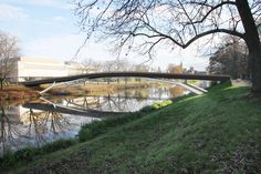 pedestrian bridge over the Labe - distant view - designed by MOAD architects