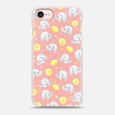 Watercolor elephant lemon pink by imushstore - Snap Case
