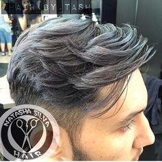 Grey men's hair color and dramatic gentlemen undercut hairstyle