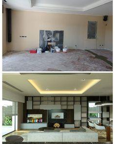 Prefigurare #architetturadinterni #livingroom #interiordesign #ceilingdesign #bookshelf #fireplace #soggiorno #design #drywall #openspace #furniture #wood