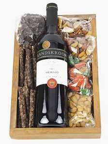 Red Wine, Chocs, Nuts and Biltong.  https://www.saflorist.net