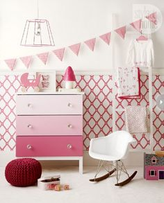 Paint the three drawer fronts in an ombre effect, moving from pale pink on the top drawer to a rich raspberry on the bottom. This dresser painting idea is perfect for girls' graceful and charming style.
