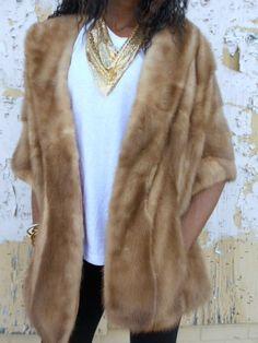 Vintage.Mink.Shawl.Fur. 60s.Silk.Pockets.Short.Soft.Winter.Cozy.Outwear.Jacket.Bolero. $99.00, via Etsy.