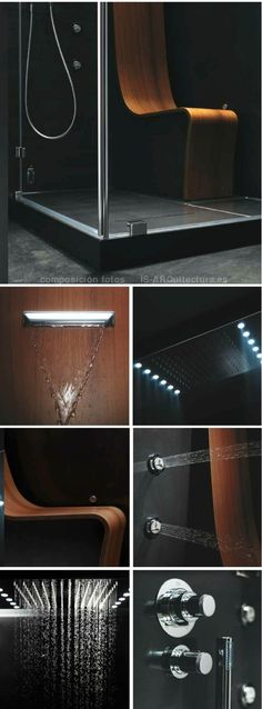 One of the best qualities of this shower is your seat call OMEGA, an element designed to take center stage, finished in teak wood, to enjoy sitting with their cascading waterfall. But Omega is also a comfortable cabin interior dimensions of 100 x 120 x 225cm in height, where you can relax with a steam bath, vertical spa, shower in, and of course, a great shower of rain above.  The glass panels are treated with Crystal Clear, to keep them shiny.