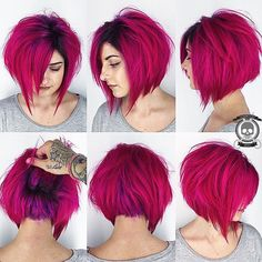 Gorgeous magenta pink hair color and messy bob by Rickey Zito HOT Beauty Magazine #hotonbeauty facebook.com/hotbeautymagazine