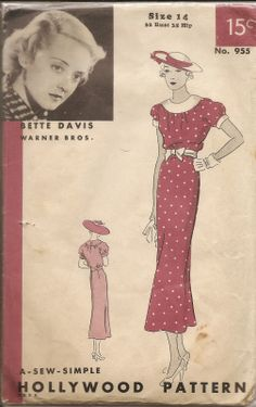Hollywood 955 | 1930s Misses' Dress featuring Bette Davis