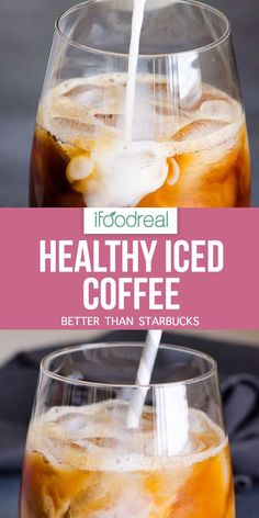 Healthy Iced Coffee Recipe with almond milk, sugar free and low calorie. This healthy iced coffee is much cheaper and healthier than Starbucks. Here's the complete recipe for my version of healthy iced coffee. Low Carb Iced Coffee Recipe, Sugar Free Iced Coffee, Ninja Coffee Bar Recipes, Healthy Iced Coffee, Almond Milk Coffee, Best Iced Coffee, Iced Coffee At Home, Iced Coffee Drinks, Healthy Starbucks
