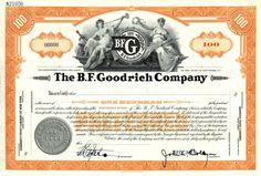 B.F. Goodrich Company Specimen Stock Certificate - New York