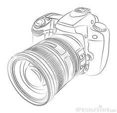 Photo About Simple DSLR With Lens Drawing