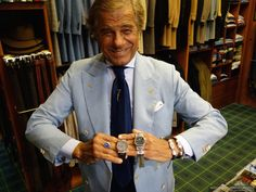 Experience: Lino Ieluzzi's Al Bazar Milano. A True Haberdasher and a Watchlifestyler at Heart. — WATCH COLLECTING LIFESTYLE Preppy Men, Preppy Style, Lucky 7, Blue Colour Palette, Elegant Man, Double Breasted Jacket, Light Blue Color, Man Style, British Style